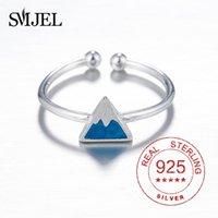 Cluster Ringe 100% Sterling Silber Blau Emaille Berg Für Frauen Kinder S925 Stempel Dreieck Feinschmucksachen Weibliche Geschenke