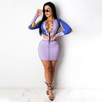 Casual Dresses Sexy Party Club Ladies Long Sleeve Lace-up Bandage Hollow Slim Stretchy Mini Dress Women Patchwork Stylish Clothes Fall