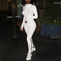 Beyaz Seksi Bodycon Tulum Romper Siyah Uzun Kollu Bodysuit Kadınlar Fermuar Balıkçı Yaka Tulumlar Zarif Tam Boy Polyester11