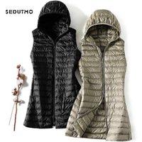 Sedutmo Kış Artı Boyutu 3XL Bayan Aşağı Ceketler Ultra Hafif Uzun Kapşonlu Yelek Rahat Yelek Sonbahar Ceket Ince Parkas ED913