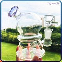Smoking Hookah Pipes Glass Round Bong 4.7Inches Recycler Dab RigSmall Bubbler With 14mm Dry Bowl Piece Dabber Tool