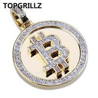 TOPGRILLZ HIP HOP GOLD COLOR PLATE Eique Micro Pave Zirkonia Runde Bitcoin Anhänger Halskette Für Männer Drei Ketten 210331