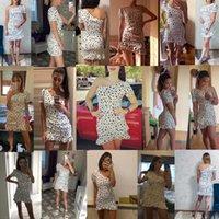 CNYISHE 2020 Sommer Rührled Print One Schulter Kleid Frauen Mode Party Geraffte Slim Weibliche Streetwear Boho Mini Kleider Vestido Y0628
