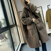 Women's Wool & Blends 2021 Winter Large Size Lambswool Coats Loose Long Overcoats Solid Female Blend Hooded Trendy Ladies Jackets