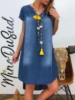 Mujeres V-cuello suelto dobladillo irregular vestidos de demina