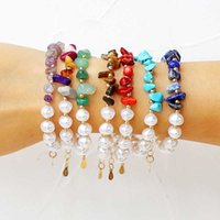 Komi Natural Stone Color Turquoises Tiger Eye Red Coral Small Gravel Imitation Pearl Men Women Bracelet Jewelry