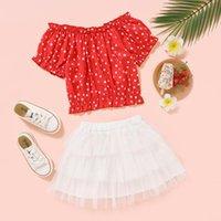 Articoli Vestiti per ragazze T-shirt manica corta rossa e gonna in tulle solido in tulle Bambino abbigliamento abito da estate abiti set di abbigliamento