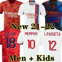 21 22 Maillot Lione 4 ° 2021 2022 Olympique Lyonnais Soccer Jersey OL Digital Quarto calcio Camicie Traore Memphis Men Kit Kit Attrezzatura Bruno G Tops