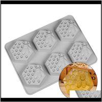 Cuisine de cuisson, bar à manger Home Jardin Drop Livraison 2021 6 trous Honey Bee Honeycomb Honeycomb Moule de moule bricolage fait à la main Savon de gâteau à gâteau de bougie