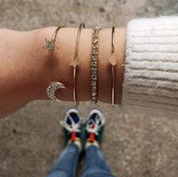 Charm 4 Pcs set Crystal Gold Silver Bracelets & Bangles For Women Heart Star Moon Bracelet Set Femme Fashion Hand Jewelry Gift Link, Chain