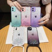 Gradientenfunkeln Bling Flocken TPU Telefon Hüllen mit langem Riemenschnur für iPhone 12 12mini 11 Pro Promax x xs max 7 8 plus Fallabdeckung