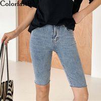 Women's Jeans Colorfaith 2021 Women Summer High Waist Casual Trousers Denim Streetwear Skinny Lady Cycling Knee Length Pants J9157