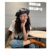 Britisches übertriebenes Design Leder-Leder-Beret-Signatur-Version Straße-Foto-Show-Gesicht-kleine Maler-Hut Mode Vielseitige Wolke Hut ZY