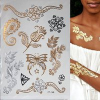 Tatouages temporaires Flash métallisé Tatouage étanche Gold Silver Tatoo Femme Henna Flower Taty Design Autocollant
