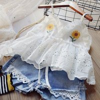 Kids Designers Clothes Embroidered Lace Sling T-Shirt+ Jeans 2pcs Sets Sleeveless Baby Girl Clothes Suit Boutique Clothing BT6506