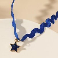 Chokers Woven Pendant Necklace Choker Blue Star Classic Fashion Personality Wild Wave Short Women's Collar Gift For Her