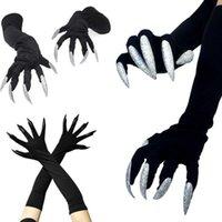 Halloween långa naglar cosplay handskar rolig festival häxa cosplay kostym party läskig fancy rekvisita svart mitten handske verktyg y0910