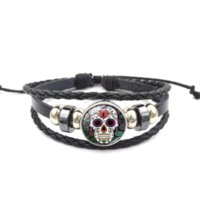 Sugar Skull Glass Cabochon Bracelet String adjustable Ginger Snap Button Chunks Wrap Multilayer bracelets Bangle Cuff Wristband Women kids Fashion jewelry
