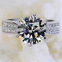 Classic Luxury Real Solid 925 Sterling Silver Anillo Anillo de Diamante Joyas de boda Anillos de compromiso para mujeres 825 Q2