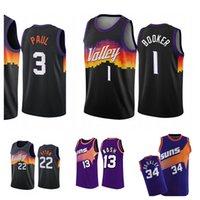 Basketbol Formaları Devin 1 Booker Chris 3 Paul Steve 13 Nash Charles 34 Barkley Siyah Beyaz Valley Jersey
