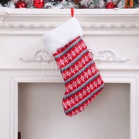 Christmas Decorations knitted wool stock red and white stripe children's gift bag Christmas stockings DD373
