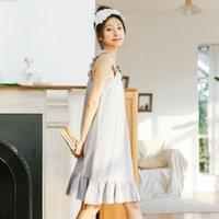 Women's Sleepwear Princess Cotton Nightdress Sling Ruffle White Square Neck Pajamas Pyjama Nightwear Koszula Nocna Girl Clothing ED50SQ