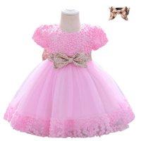 PLBBFZ Send Headban Rosa Pailletten Baby Mädchen Kleid Erster Geburtstagskleid Für Mädchen Taufe Große Bogen Party Hochzeit Prinzessin Kleide