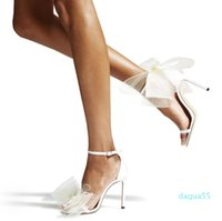 Dress Shoes Famous AVELINE Sandals Sexy Women High Heels Mesh Bows Ankle Strap Gladiator Sandalias Exquisite Stiletto-heel Wedding Party