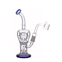 Glass honeycomb Bongs inline matrix Perc Recycler Water Pipes 14.5mm male Fab Egg Dab oil Rig with glass oil burner pipe and banger nail
