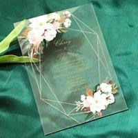Белая роза, пион, цветы, 10шт акриловые свадебные приглашения, зелени листья, напечатанные карманные конверты, акриловые приглашения карты приветствия