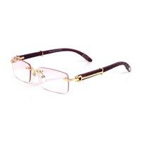 Luxe designer zonnebril brillen frames hout tempels met metalen frameloze volledige rand semi-velless rechthoekige vorm voor mannen vrouw eyewear accessoires leverancier