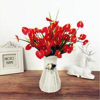 Kunststoff Blumen Künstliches rotes Anthurium Ein Stück 7 Niederlassungen 30 Blütenköpfe Künstliche Blumen Bouquet für Weihnachtsdekor EEB6098