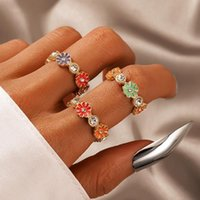 Wedding Rings 3pcs set Bohemia Colorful Flower Crystal For Women Charm Goemetry Drop Oil Metal Alloy Finger Ring Set Jewelry