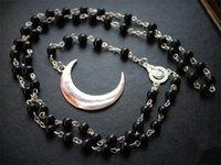 Anhänger Halsketten Lange Gothic Crescent Moon Pentagram Halskette.spirit Rosenkranz Halskette Wicca Pagan Black Perlen Charm Schmuck