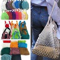 Home Storage Bags Shoppings Grocery Bag Reusable Shopper Tote Fishing Net Large Size Mesh Nets Woven Cotton Portable Shopping BagsOrganization ZC317