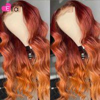 Elia Ombre Orange кружевное закрытие парик кузовной волна бразильский 100% человеческие волосы предварительно сорваны для черных женщин свободный часть среднего парика