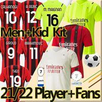 4XL 20/21 AC Milan maillot de football Fans player version Soccer Jerseys 2021 milan IBRAHIMOVIC TONALI Mandzukic Kessie ÇALHANOGLU Hommes Enfants Kits Maillots de football