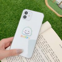 Monster design straight edge transparent mobile phone cases with nice or happy word for iPhone 12 11 Pro X Xr Xs Max Mini 7 8 Plus