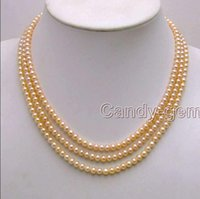 """real fine 3strand natural 6-7MM pink Pearls unite NECKLACE 17""""18""""19"""""""