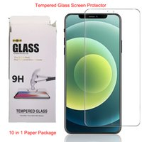 Temperli Cam Ekran Koruyucu iphone 12 11 Pro X / XS Max XR 8 7 6S artı 10 in 1 Kağıt Paketi
