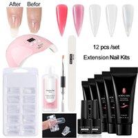 12pc / Set Nagelsatz mit Lampe Maniküre Farbe UV Gel Polish Kit Werkzeug 15 ml x 7 Farben Geeignet für Anfänger Kunst Kits