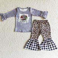 Wholesale Kids Designer Clothes Girl Sets Toddler Baby Girls Christmas Clothing Fashion Christma Tree Print Kid Children Bell Bottom Pants Outfits Soft Milk Silk