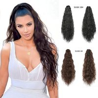 Synthetic Wigs AfroPuff Water Wavy Curly Claw Clip Drawstring Hairpiece Ponytail Heat Resistant Natural Hair Overhead Tail