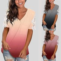 Women's T-Shirt European And American Gradient Tops Women Lace Splicing Short Sleeve V-neck Loose Casual Summer Tee Mujer Camisetas