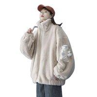 Veste en coton Faux de fourrure Femme Mode Courts Manteaux 2021 Style Automne Hiver Lambière Laine Plus Velvet Vestes Sweet Vêtements D40