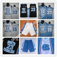 Vince Carter Jersey UNC, Carolina del Nord # 15 Vince Carter Blu Bianco Stitched Stitched NCAA College Baskey Jerseys, Logos da ricamo