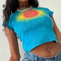 Gentillove 2021 Kadın Yaz Rahat Seksi Örgü Çiçek Baskı Göbek Mini Kırpılmış Tops Ince Zarif Vintage Hit Renk Tee Kadın T-Shirt