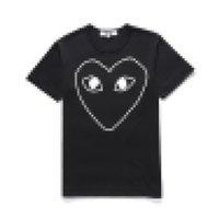 Nouveau com Meilleure Qualité Blanc des Garcons Jouer au coeur en or T-shirt noir CDG Color Color Imprimer Tee-shirt