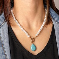 Кулон ожерелья модный богемный жемчужный цепочка для женщин старинные коренастые голубые натуральные каменные подвески девушка партия ювелирных изделий подарки