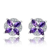 Sterling Silver Earrings Stud Purple Flower Zircon Diamond Earring Jewelry for Women 18K White Gold Plated with Box